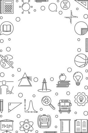 School and Education concept linear frame. Vector illustration Ilustração