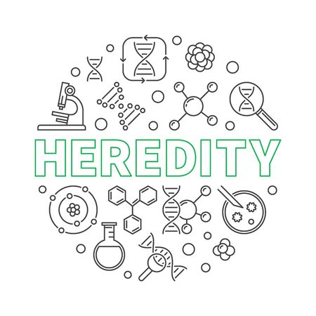 Heredity vector round outline concept minimal illustration 일러스트