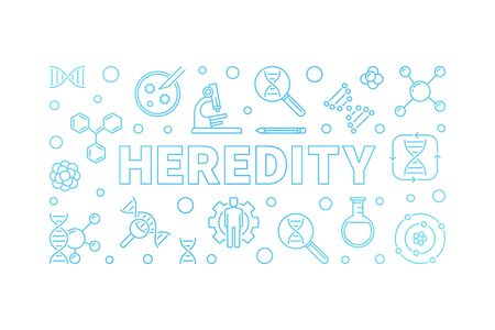 Heredity blue vector horizontal banner in outline style 스톡 콘텐츠 - 124597344