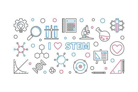 I Love STEM vector concept outline banner or illustration Illustration