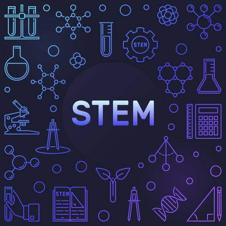 STEM colored vector concept frame in thin line style