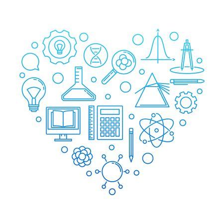 I Love School concept blue illustration on white background