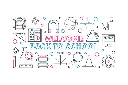 Welcome Back to School creative horizontal linear illustration