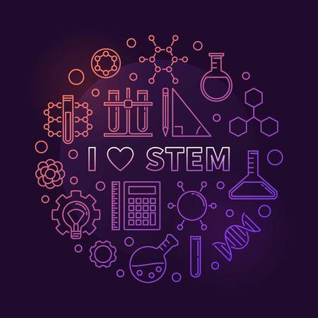I Love STEM vector colored circular outline illustration