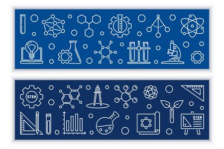Education and STEM vector concept banners in thin line style