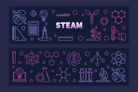 Two STEAM vector colored creative outline horizontal banners