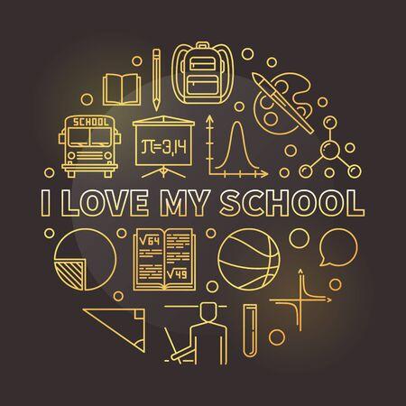 I Love My School vector round golden thin line illustration