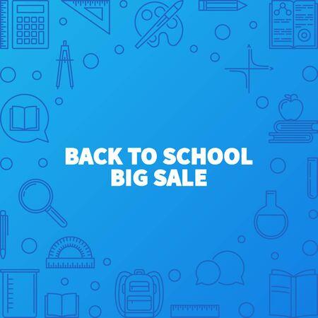 Back to School Big Sale vector outline illustration or banner