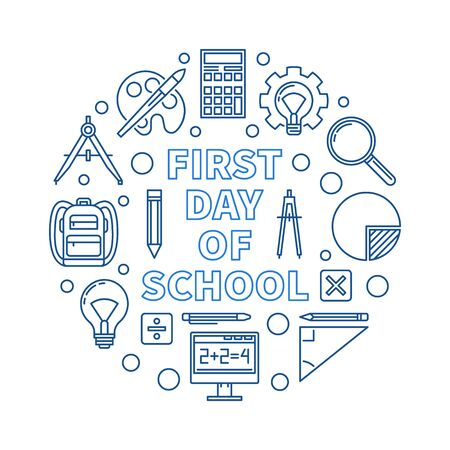 First Day of School vector concept round outline blue illustration on white background