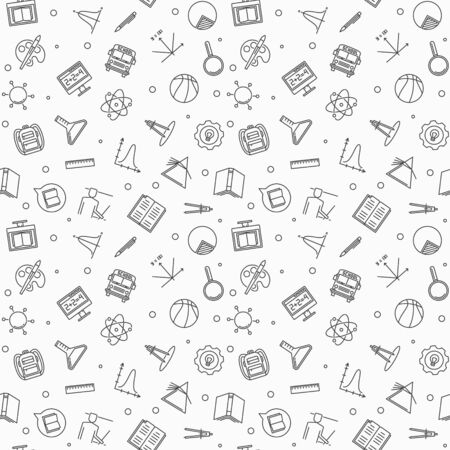 Vector Back to school simple seamless pattern in thin line style Illustration