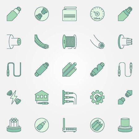 Optical fiber colored icons set - vector Fiber-optic symbols Иллюстрация