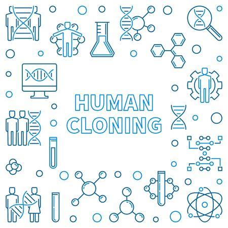 Human Cloning outline square frame. Vector illustration