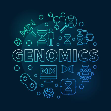 Genomics vector round blue concept outline illustration 스톡 콘텐츠 - 124936577