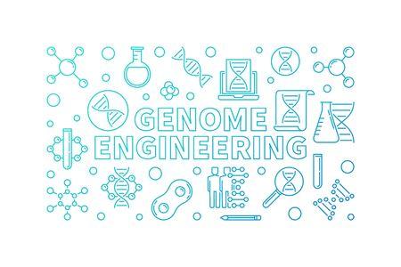 Genome Engineering vector blue line horizontal illustration 스톡 콘텐츠 - 124936603