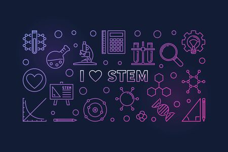 I Love STEM concept colored outline vector horizontal banner Illustration
