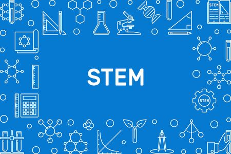 STEM concept outline horizontal frame. Vector illustration
