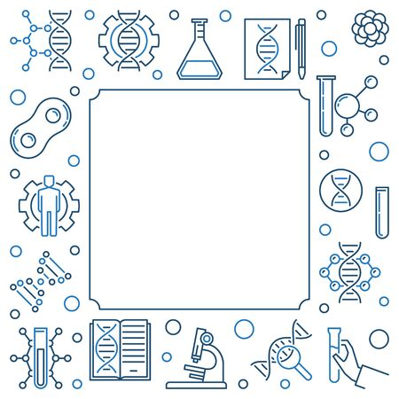 Vector DNA Test concept square frame in outline style