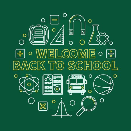 Welcome Back to School vector round linear illustration
