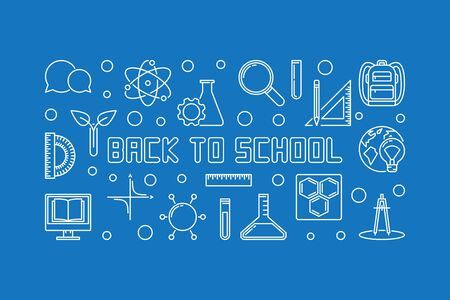 Back to School vector concept outline horizontal illustration