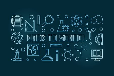 Vector Back to School blue concept linear illustration Illustration