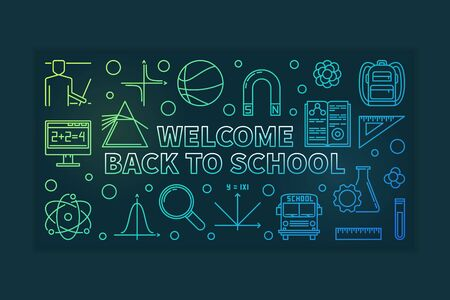 Vector Welcome Back to School banner in thin line style