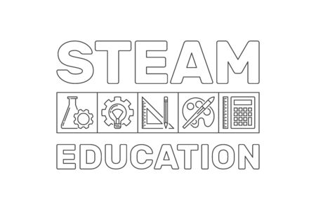 STEAM Education vector concept outline banner or illustration