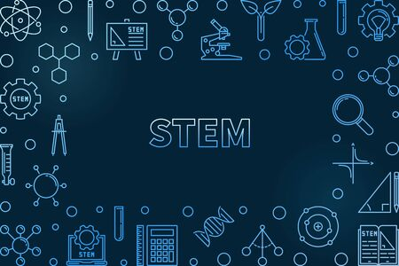 STEM concept horizontal outline blue frame. Vector illustration Illustration