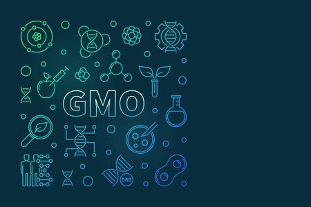 GMO vector colored square line banner or design element Ilustrace