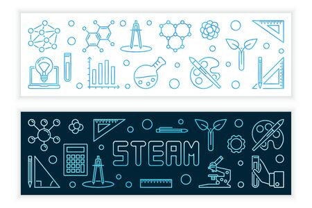 STEAM vector concept modern banners in outline style