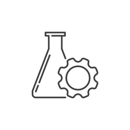 Flask with Gear vector linear icon. Science concept symbol