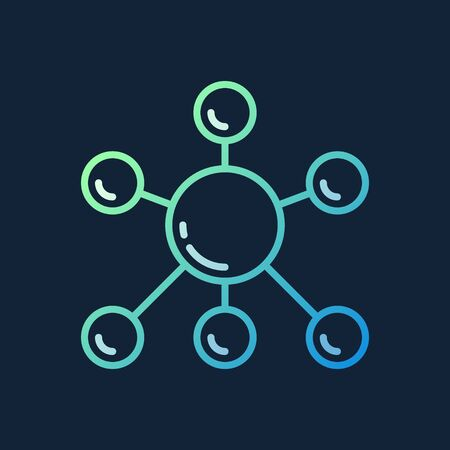 Molecule vector colorful outline icon on dark background