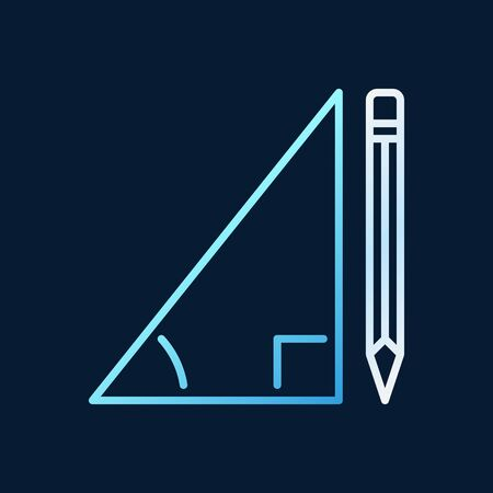 Pencil with Triangle vector linear concept colored icon