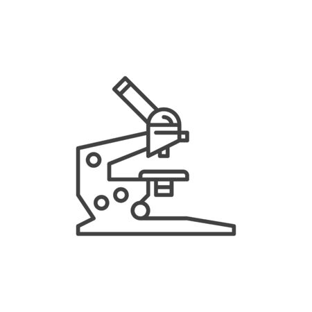 Microscope vector concept icon in thin line style Illustration