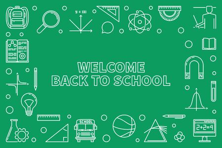 Welcome Back to School vector horizontal outline illustration