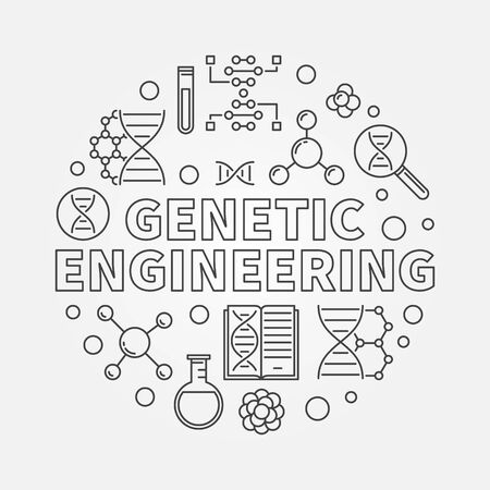 Genetic Engineering vector round biotechnology concept outline minimal illustration