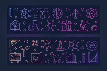 Set of 2 STEM Education vector concept colored linear banners with dark background Illustration