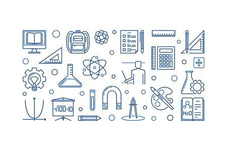 Back to School vector education outline horizontal illustration Vettoriali