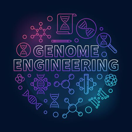 Genome Engineering vector circular colored line illustration Ilustracja
