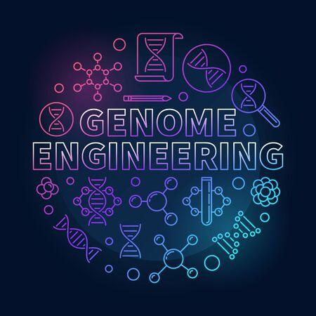 Genome Engineering vector circular colored line illustration Illustration