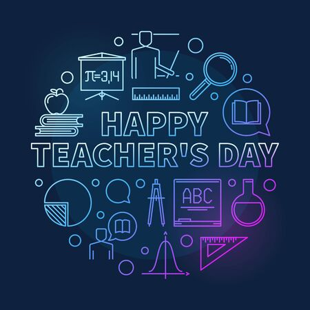 Happy Teachers Day vector round colorful linear illustration Illustration