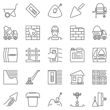 Cement and Concrete outline icons. Vector construction signs