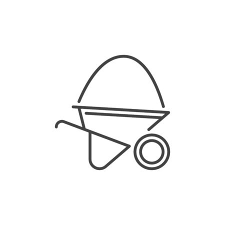 Wheelbarrow with sand vector concept outline icon