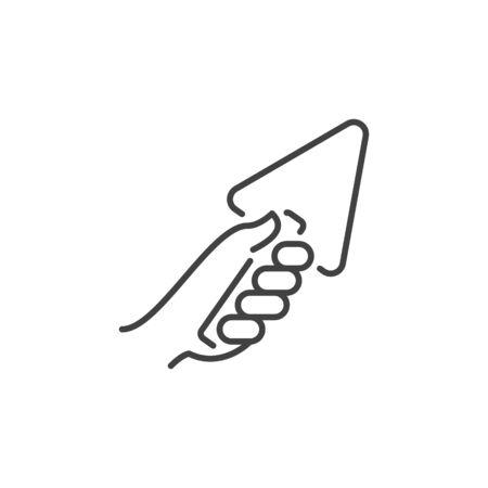Main avec l'icône de concept de vecteur de truelle dans le style de ligne fine Vecteurs