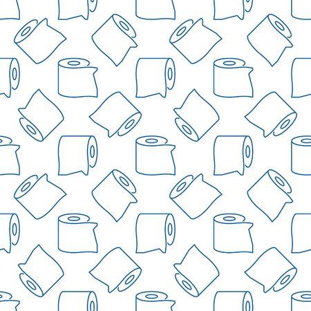 Modello senza cuciture di contorno minimo di carta igienica vettoriale Vettoriali