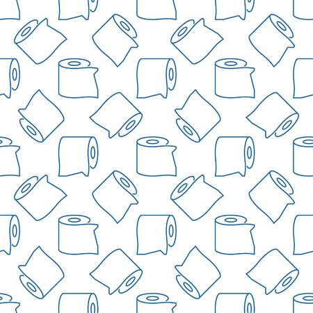 Vector toilet tissue minimal outline seamless pattern Vectores