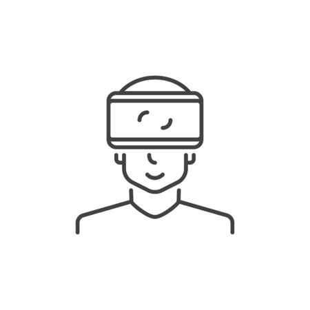 Man with VR glasses vector concept icon in outline style