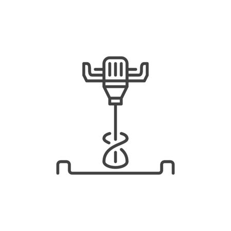 Electrical Concrete Hand Mixer vector icon in thin line style