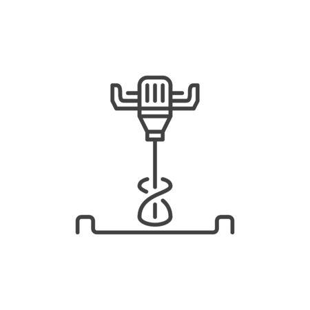 Elektrisches Betonhandmischer-Vektorsymbol im dünnen Linienstil Vektorgrafik