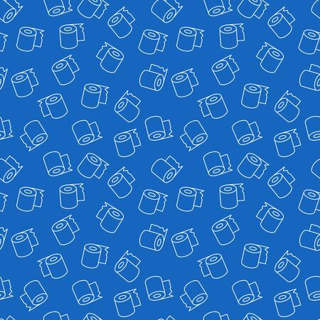 Toilet Paper vector blue linear seamless pattern
