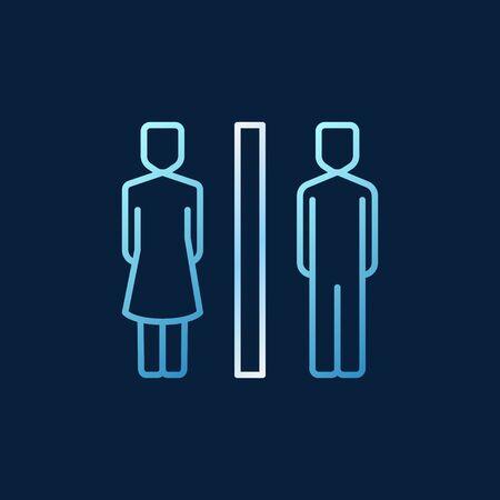 Icône de couleur de contour de concept de WC - signe de toilette de vecteur Vecteurs